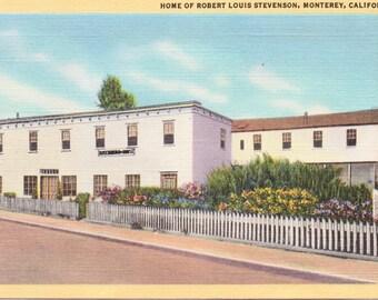 Monterey, California, Home of Robert Louis Stevenson - Linen Postcard - Unused (Z)