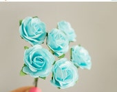 SALE 10% OFF Bouquet Light Blue Paper Roses / Size 30 mm /  Paper flowers With Wire Stems / Six Blossoms / Artificial Flowers / Wedding / Br