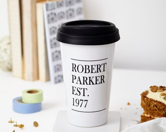 Personalised Monochrome Travel Mug