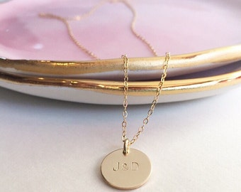 Long necklace , initial necklace , layered necklaces , handstamped necklace , coin pendant necklace , gifts for women , gold chain , gold
