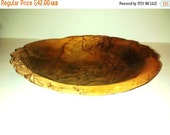 On Sale Antique Primitive Bowl , Folk Art , Pyrography , Wooden carved . 1904
