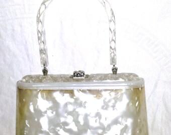 Vintage 1950s White Pearlized Lucite Handbag Purse Charles S. Kahn