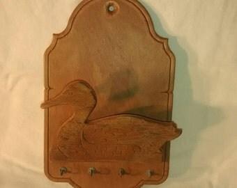 Valentine SALE Vintage wooden Duck wall pocket , key hooks , cabin , lodge decor