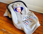 Car Seat Cape Poncho (Grey Blue Triangles) Reversible Kids Hooded Fleece Poncho Cape with ears