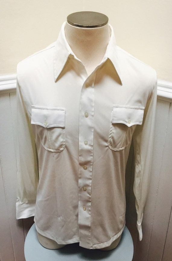 Vintage 1970s white long sleeve polyester button down shirt l for Polyester button up shirt