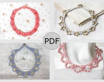 Crochet necklace pattern beaded choker DIY tutorial PDF file Last minute gift idea Crochet jewelry Do it yourself