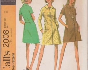 Vintage McCall's 2008, Coatdress, Misses', 1960s