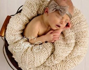Lace Bow Baby Headband, Elastic Baby Girl Headband