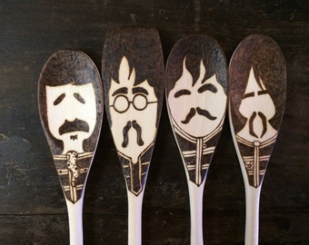 Sgt. Pepper Wooden Spoons, Beatles Gifts, Woodburned Home Decor, Fab Four Christmas Art, Food Lovers, Food Gifts Under 40, Mustache