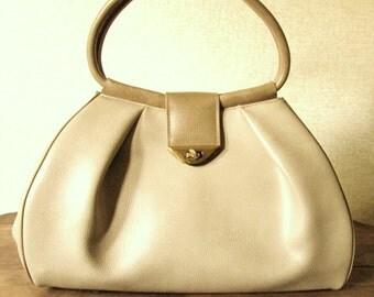 Kelly Style Bag extra large purse Mad Men Joan handbag satchel tote bag taupe tan beige neutral vinyl vegan faux leather vintage 60s Kory