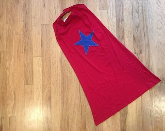Kids Super Hero Cape - Red Cape with Blue Star