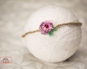 Rose Halo Headband, Newborn Tieback,Small Baby Halo, Newborn Photo Prop, Halo Headband, Newborn Halo, Violet Halo, Baby Tieback