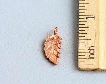 SALE, Leaf charm, Rose Gold vermeil leaf charm, Rose Gold vermeil Leaf Charm Pendant,  Dangles Charm, Rose Gold leaf charm, 18mm ( 1 pcs )