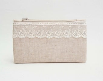 BIG SALE -Bridesmaid clutch  rustic wedding clutch ,zipper pouch,bridesmaid gift