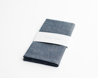 Chambray blue men's pocket square