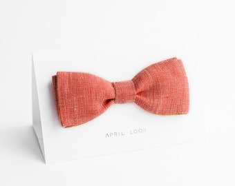 Coral bow tie, bright red bow tie, chambray bow tie - double sided