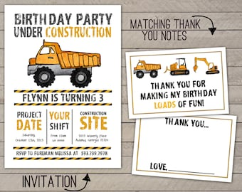 Construction Party Invitation: Digger or Dumptruck- // Printed or Digital (FREE SHIPPING!)