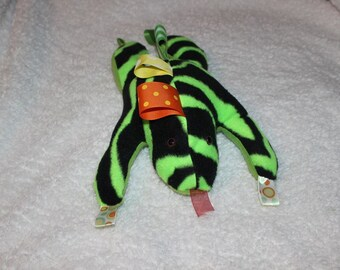 Taggy Frog Soft Stuffed Toy with ribbon Rubbing Tags