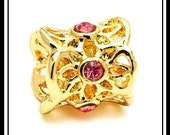 BEAUTiFUL - Gold Plated ~ FILIGREE Barrel Shape - FLoWERS - Rose PiNK CZ - Excellent Quality - Charm Bead fits European Bracelets - MGP-1543