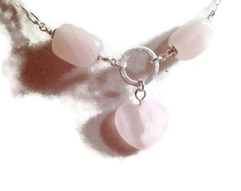Pink Necklace - Sterling Silver Jewelry - Rose Quartz Gemstone Jewellery - Fashion - Chain - Heart Pendant - Chic