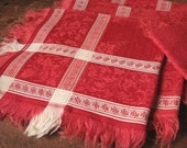 Antique red damask napkins, Red table napkins, red and white napkins