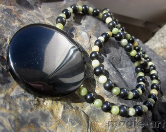 Obsidian Mirror Nephrite Necklace
