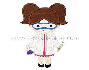Girl Scientist Applique Design
