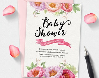 Baby shower invitation, floral invitation, watercolor Invitation, custom invitation, printable invitation, watercolor flowers invitation