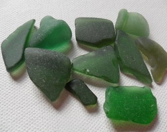 10 mixed green sea glass - Lovely English beach find pieces