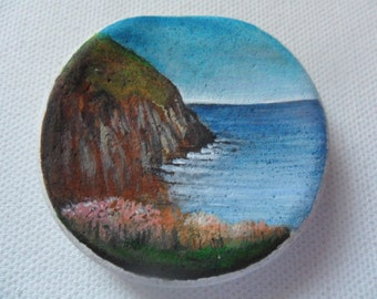 Tranquil cliffs England - Original miniature painting on English sea pottery