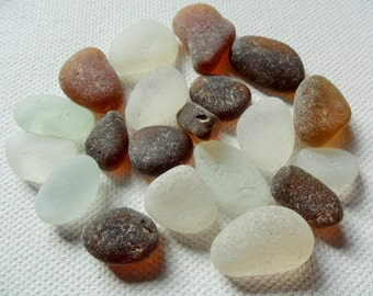 20 brown & white sea glass - Lovely English beach finds