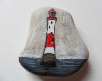 Beachy Head Lighthouse - Original miniature painting on english beach pottery