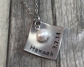 Mothers necklace, hand stamped stainless steel square with fresh water pearl