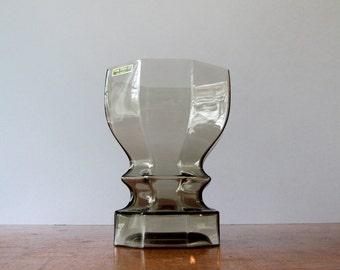 Vintage Dansk Smoke Glass Faceted Vase - Gunnar Cyren