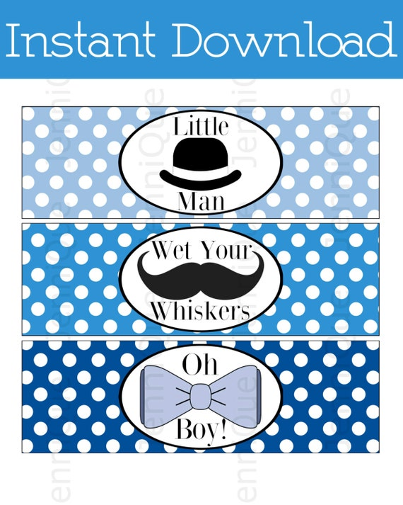 printable mustache and bow ties themed baby shower water bottle labels