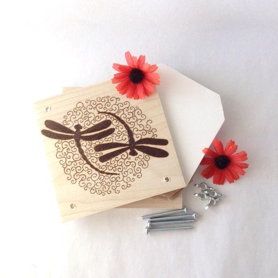 Flower Press - Wood Pyrography - Dragonfly Swirl Plant Press
