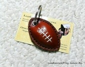 100% handmade hand stitched reddish brown cowhide leather football keychain / key holder