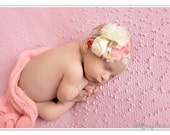 Baby Headband, flowers, soft rose, ivory, burlap bow, lace elastic, satin, chiffon, all sizes