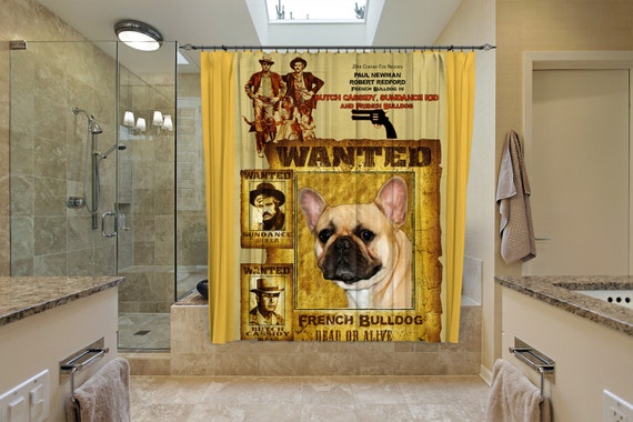 French Bulldog Art Shower Curtain, Dog Shower Curtains, Bathroom Decor - Butch Cassidy and the Sundance Kid Movie Poster by Nobility Dogs