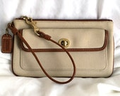 Coach Beige Cotton Twill Turnlock Wristlet with Tan Leather Trim and Red Lining