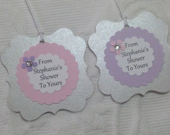 Personalized From Name Shower To Yours Tags - Shimmery Gray, White, Purple and Pink - Baby Shower - Favor Gift Tags