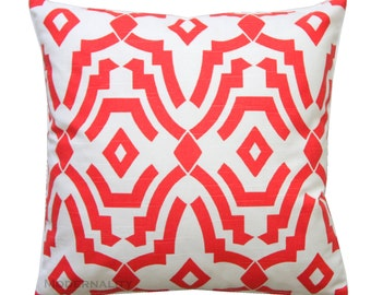 CLEARANCE Toss Pillows- Premier Prints Lava Red Orange Chevelle Pillow Cover- 16x16 Zippered Pillow Cushion Cover Home and Living