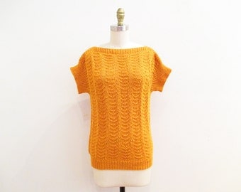Vintage 80s Sweater | Marigold Orange Crochet 1980s 70s Sweater | size medium