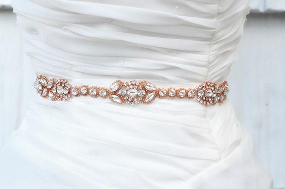 ROSA GOLD SALE Wedding Belt, Bridal Belt, Sash Belt, Crystal Rhinestones sash belt