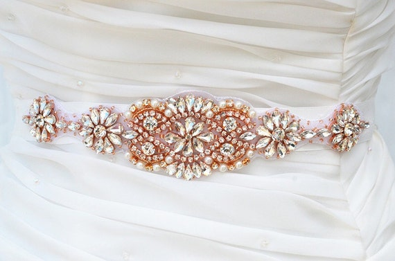 ROSE GOLD SALE Wedding Belt, Bridal Belt, Sash Belt, Crystal Rhinestones s