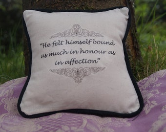 Miniature Jane Austen Inspired Pillow. Northanger Abbey Quote. Cotton Decorative Pillow