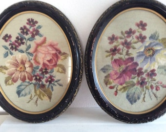 2 Large Antique Needlepoint Flowers Pink Roses - Ornate Distressed  Frames  - Shabby Chic - Cottage Decor - Victorian - Floral Needlework