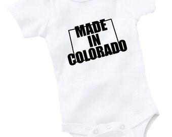 Made In Colorado Onesie Bodysuit Baby Shower Gift Funny Geek Nerd Cute Sports Football Basketball Baseball