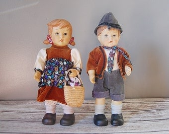 Porcelain Dolls, Alpine Girl and Boy Dolls, Bisque Porcelain Doll, Hummel Style Doll, Vintage Porcelain Doll
