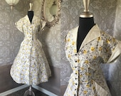 Vintage 1940's 50's Yellow and Black Cotton Dress Size Large
